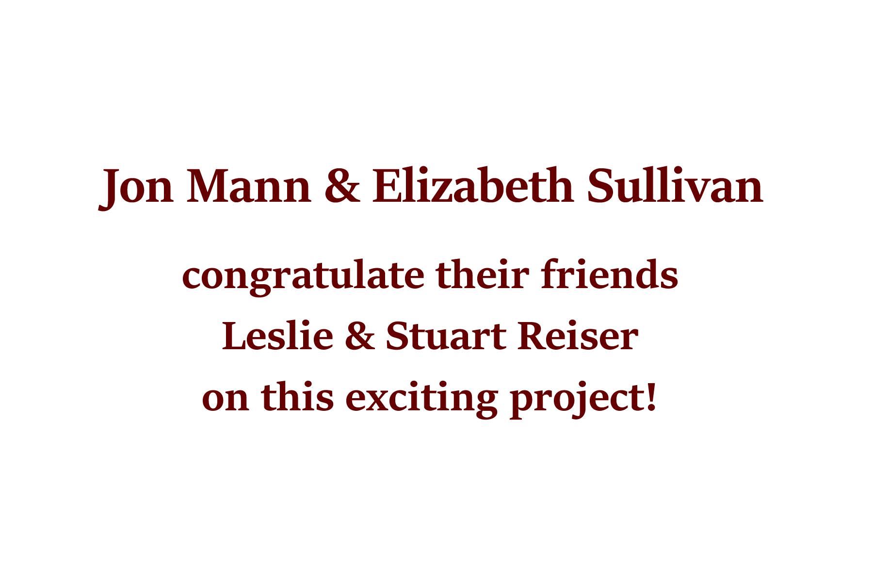 Jon Mann & Elizabeth Sullivan
